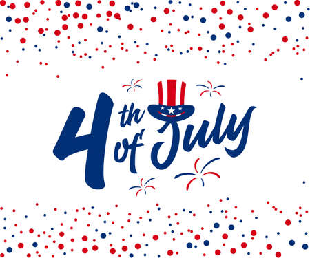 4th of July hand lettering trendy design with American hat on top, gift card, greeting card, banner, web slider, discount banner, etc. Vector illustration.
