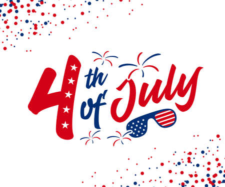 4th of July hand-lettering design with red & blue color burst, firework, and American goggles. Use for July independence day greeting, postcard, discount banner, etc. vector illustration.