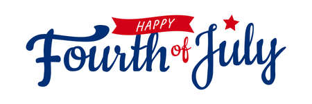 Fourth of July hand-lettering design with star and ribbon. July independence day greetings, postcard, etc. vector illustration.