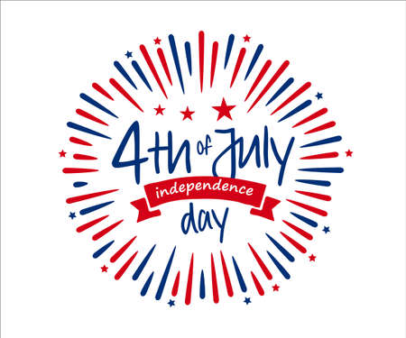 4th of July independence day banner with firework burst ray, July greeting, celebrating freedom. Vector illustration on white background.