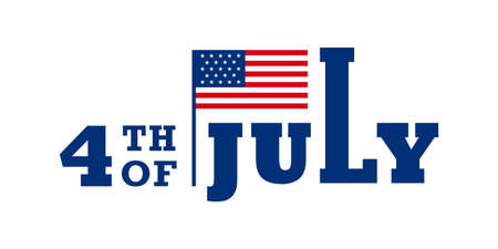 Simple 4th of July typography design with an American flag. Vector illustration. 矢量图像