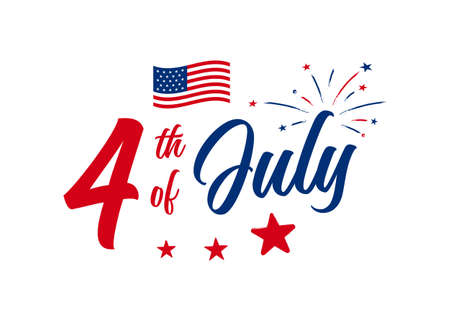 4th of July hand-lettering design with firework, stars, and the American flag. Use for July greeting card, postcard, discount deals, freedom celebration, festive greeting, etc. vector illustration.