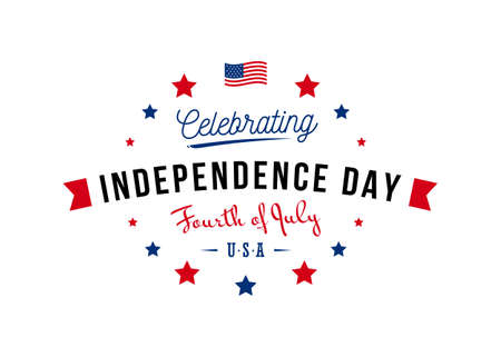 Celebrating independence day, fourth of July USA monogram with USA Flag and stars, isolated on white background. Use for July greeting card, postcard, discount, freedom celebration, festive greeting,