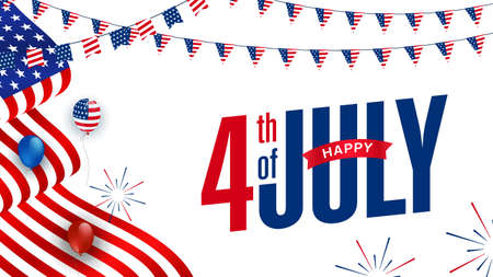 Modern Happy 4th of July sale promotion advertising banner template with American balloons, waving American flag, fireworks, garlands decor. Vector illustration.