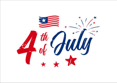 Grunge 4th of July hand-lettering design with firework, stars, and the American flag. Use for July greeting card, postcard, discount deals, freedom celebration, festive greeting, etc. 矢量图像