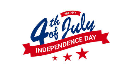 Happy 4th of July independence day modern typographic design with star and ribbons isolated on white background. Vector illustration.