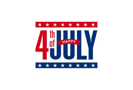 Modern Happy 4th of July, Independence day typographic design. Greeting card design, Banner, web slider, postcard, etc. vector illustration.