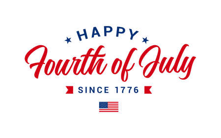 Simple monogram of Happy Fourth of July, American Independence day vector illustration with USA Flag & Star.