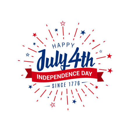 Happy July 4th independence day since 1776 greeting in the starburst. Vector illustration on white background. 矢量图像