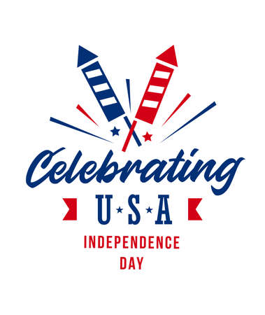 Simple Celebrating USA Independence day design with firecrackers. Vector illustration on white background.