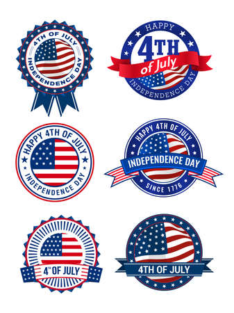 Happy 4th of July, American independence day 6 badges with ribbon and USA flag, isolated on white background. vector illustration.