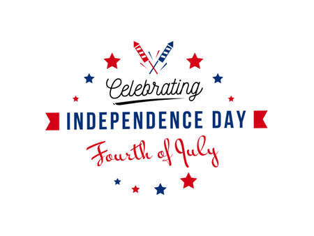 Celebrating independence day, fourth of July USA monogram with firecrackers and stars, isolated on white background. Use for July greeting card, postcard, discount, freedom celebration, festive, etc.