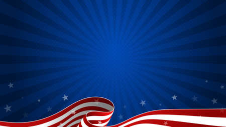 Trendy Fourth of July dark blue background with waving USA flag and starburst. 4th July greeting card, postcard, sale banner, discount banner template. Vector design.