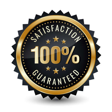 100% satisfaction guaranteed badge gold glossy badge isolated on white background. 矢量图像