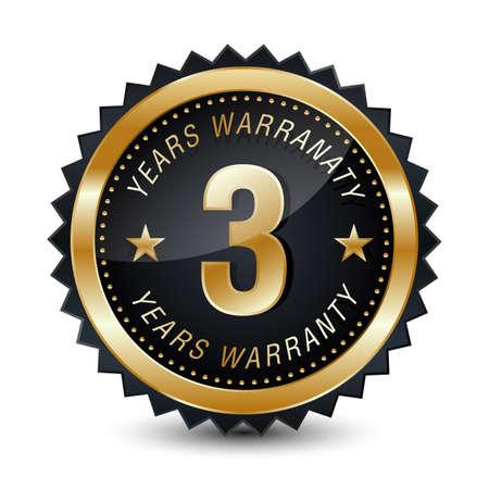 3-year warranty golden badge isolated on white background. warranty label.