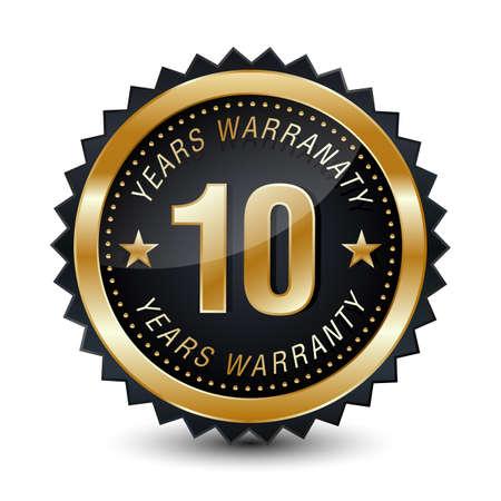 10-year warranty golden badge isolated on white background. warranty label.