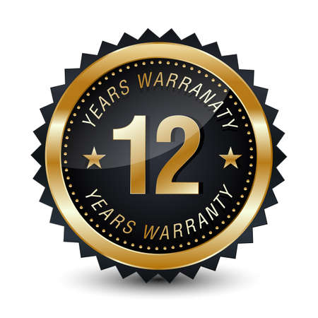 12-year warranty golden badge isolated on white background. warranty label.