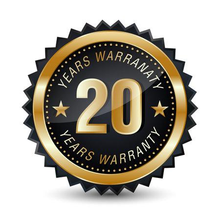 20-year warranty golden badge isolated on white background. warranty label. 矢量图像