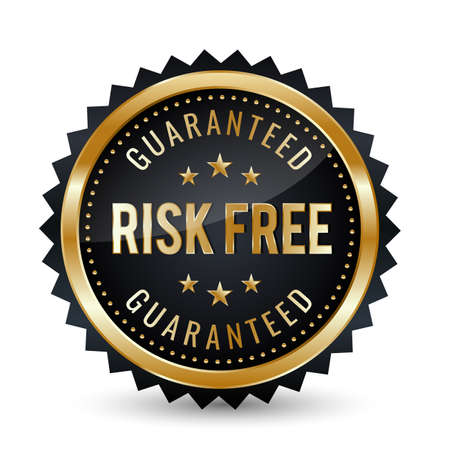 Risk-Free Guaranteed Badge - banner, sticker, tag, icon, stamp, label. 矢量图像