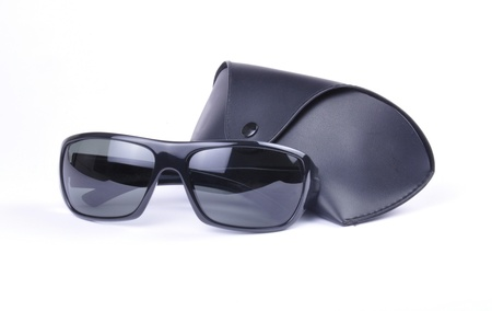 ray ban: Sunglasses and carri case isolated against a white background