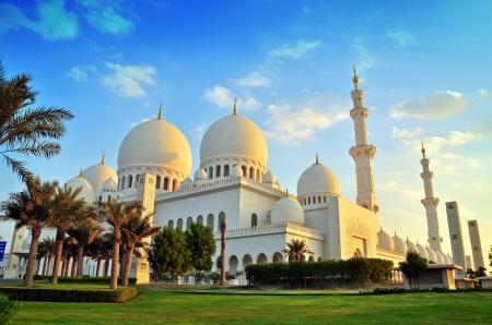 prayer tower: Sheikh Zayed moschea, Abu Dhabi, Emirati Arabi Uniti, Medio Oriente Archivio Fotografico
