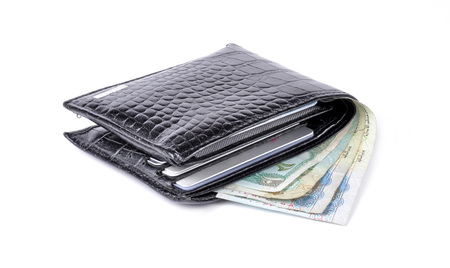 arabic currency: black leather wallet with money isolated on white background