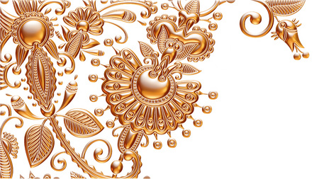 3d Golden Seamless Wallpaper on white background photo