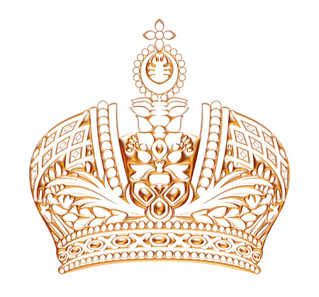 jeweled: Golden Crown isolated on White Background Stock Photo