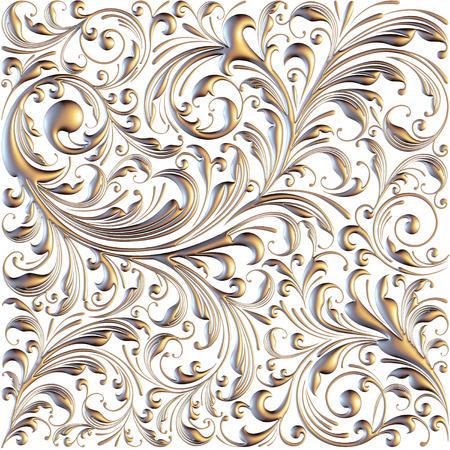 3d Ornament elements, vintage gold floral designs photo