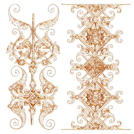 molding: 3d gold ornament on white background