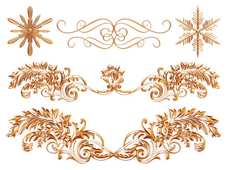 3d gold ornament on white background