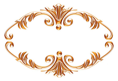 tooled: 3d gold ornament on white background
