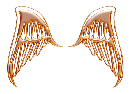 golden eagle wings on isolated white background  photo