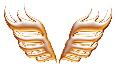 mythical phoenix bird: golden eagle wings on isolated white background