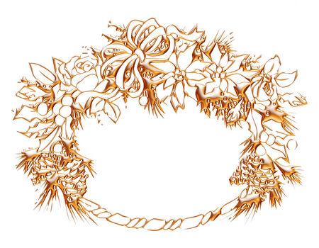 Gold christmas wreath on isolated white background    photo