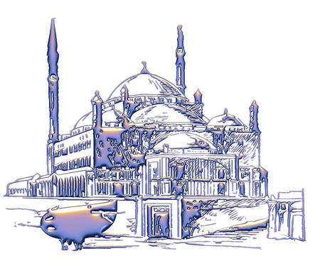 namaz: 3D illustration of mosque