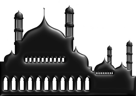 ramzaan: 3D illustration of moon with mosque