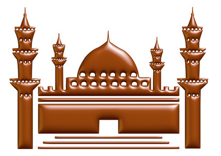namaz: 3D illustration of moon with mosque