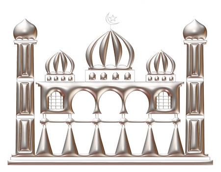 3d silver illustration of mosque on isolated white background. illustration