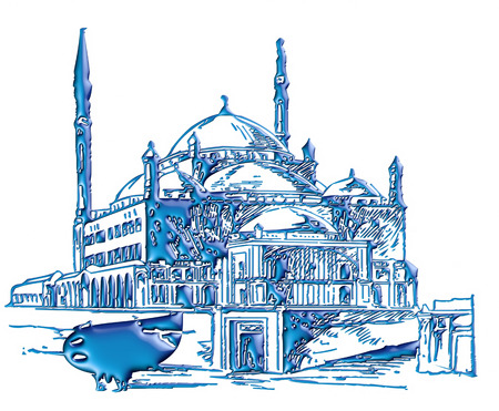 mausoleum: 3d blue illustration of mosque on isolated white background.