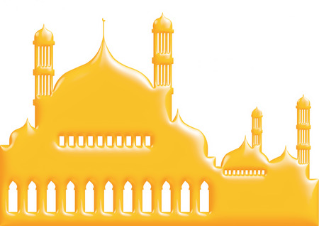 3d yellow illustration of mosque on isolated white background. illustration