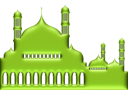 3d green illustration of mosque on isolated white background. illustration