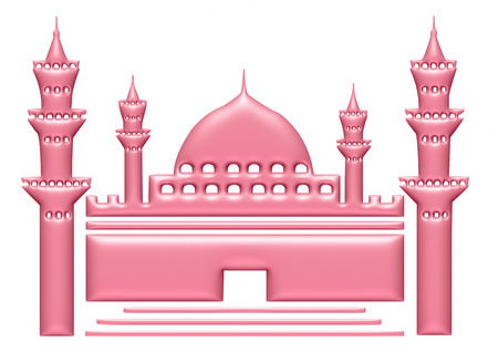 3d light pink illustration of mosque on isolated white background. illustration