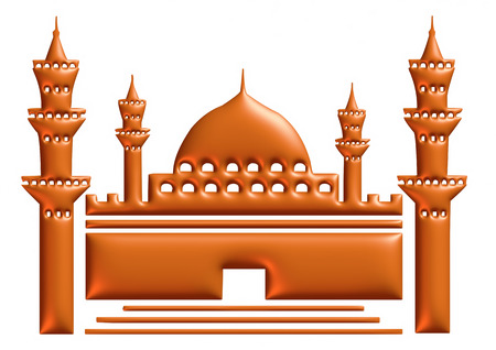 3d brown illustration of mosque on isolated white background. illustration