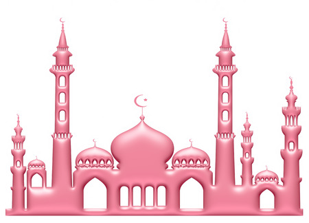 agra: 3d light pink illustration of mosque on isolated white background.
