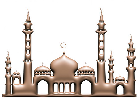 3d brown metallic illustration of mosque on isolated white background. illustration
