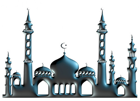 3d black illustration of mosque on isolated white background. illustration