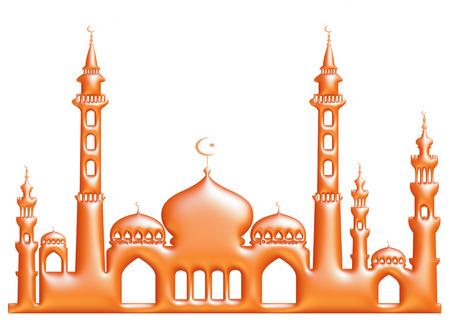 3d orange illustration of mosque on isolated white background. illustration