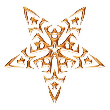 Ornamental Star on white background. photo