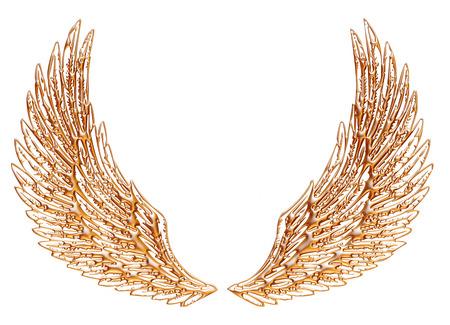 Aile d'aigle d'or isolé sur fond blanc. Banque d'images - 32420646